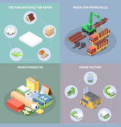 paper production concept icons set vector image