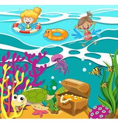 People swimming in the ocean vector image