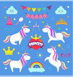 princess party and decorations element set vector image
