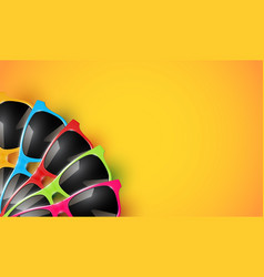Realistic sunglasses on a colorful background vector