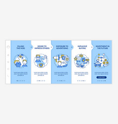 Reasons for consumerism blue onboarding template vector