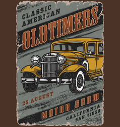 Retro cars motor show colorful poster vector