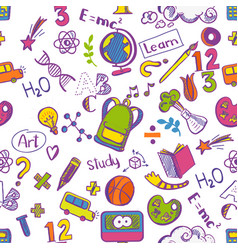 school seamless colorfull pattern vector image