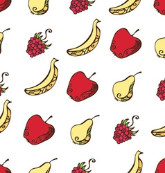 Seamless pattern of fruits and berries on white vector image
