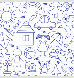 Seamless pattern with kids drawings in blue color vector