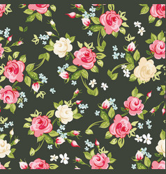 seamless pattern with pink and white roses on vector image