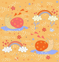 Seamless pattern with two cute snails vector image