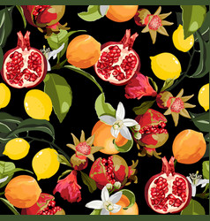 seamless tropical fruits pattern exotic vector image