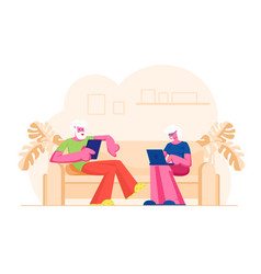 Senior married couple sitting on couch using vector
