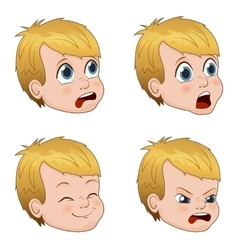 set of cute little boy faces vector image