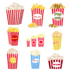 set of full red-and-white striped popcorn buckets vector image