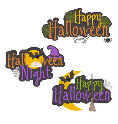 set of isolated halloween message design vector image