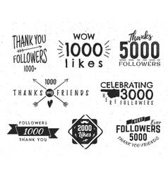 Set of vintage Thank you badges Social media vector image