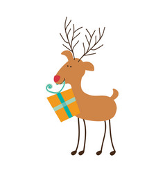 silhouette caricature color of reindeer with gift vector image
