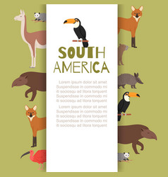 south america banner inscription animals vector image