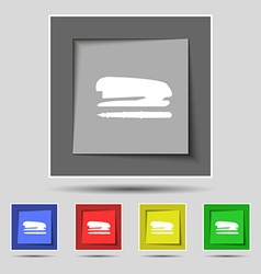 Stapler and pen icon sign on original five colored vector