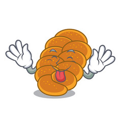Tongue out challah mascot cartoon style vector