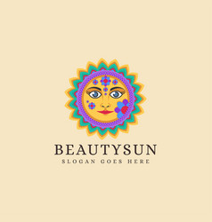 traditional ethnic sun logo vector image