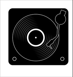 turntable and vinyl record disc flat simple vector image