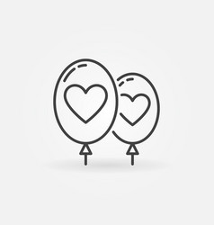 Two balloons with heart icon in outline vector