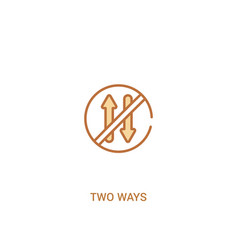 Two ways concept 2 colored icon simple line vector