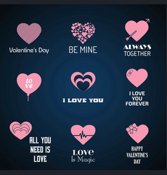 valentines day icons with blue background set vector image