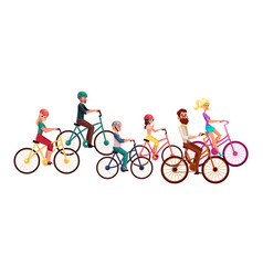 various people men and women riding bicycles vector image