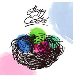 Vintage Easter background hand drawn sketch vector