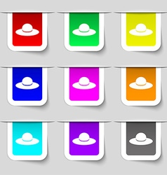 Woman hat icon sign Set of multicolored modern vector image
