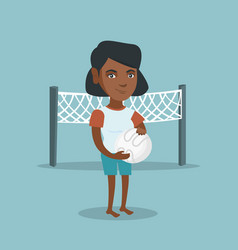 Young african-american beach volleyball player vector