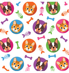 Cat amp dog pattern vector