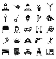 engineering machine icons set simple style vector image