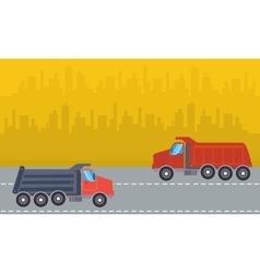 Landscape of two dump truck vector image