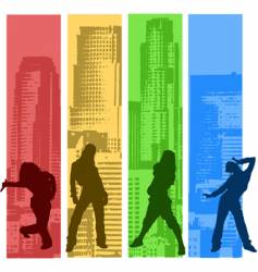 rainbow color hip hop silhouette vector image