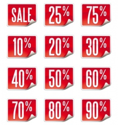 set of curled price labels vector image vector image