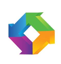 3d arrows logo vector image vector image