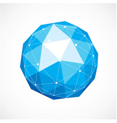 3d low poly spherical object with white connected vector