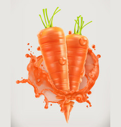 carrot juice fresh vegetable 3d icon vector image vector image