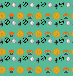 cryptocurrencies seamless pattern vector image vector image