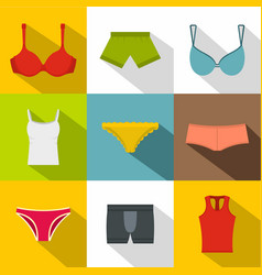 female underwear icon set flat style vector image