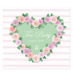 Heart decorated with roses template birthday vector