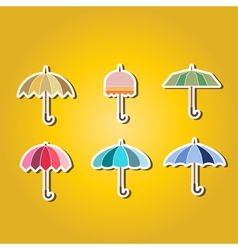 set of color icons with umbrellas vector image vector image
