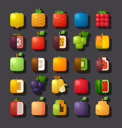 square shaped fruit icon set vector image vector image