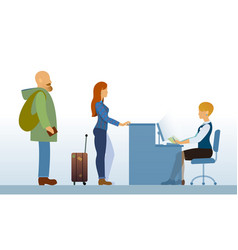 Airport departure area with passengers reception vector