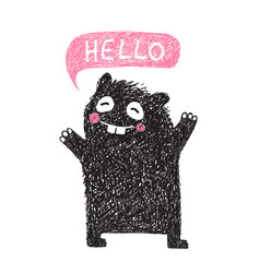 kids hand drawn black monster say hello vector image