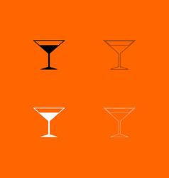 martini glass black and white set icon vector image