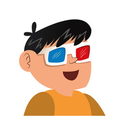 nice boy using 3d glasses vector image