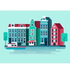 Amsterdam city design flat vector image vector image