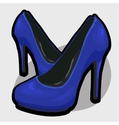 Blue evening shoes with high heel vector image vector image