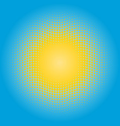 halftone sun design element circle of yellow dots vector image